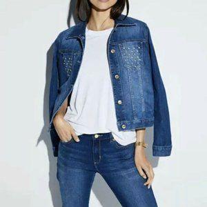 NWT Michael Kors GOLD Stud Pocket Jean Jacket